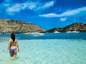 woman in bikini in caribbean water
