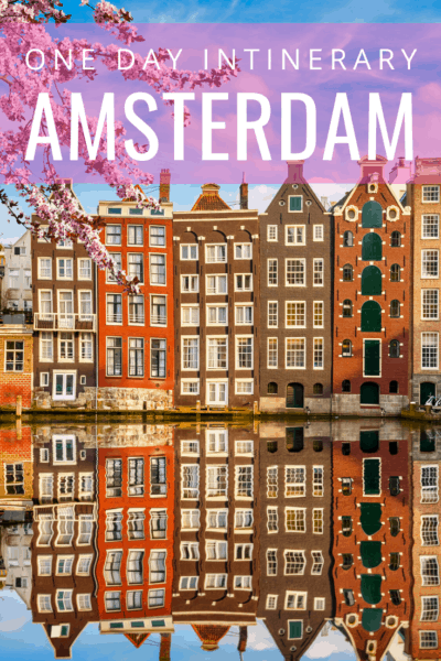 Amsterdam buildigs text says one day itinerary amsterdam