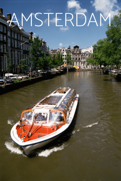 Canal tour boat text says amsterdam