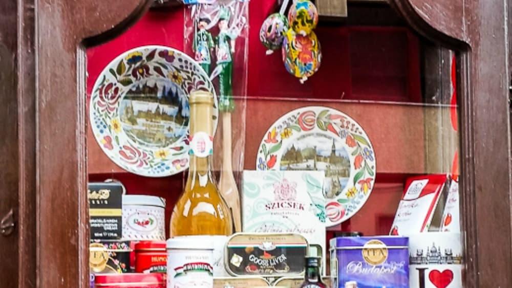 souvenir porcelain in Budapest shop window