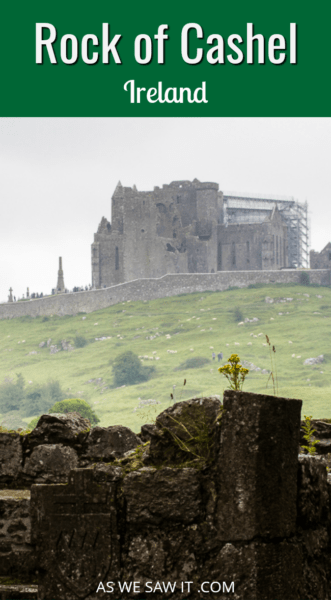 Rock of Cashel as seen from a distance - overlay says rock of cashel ireland.