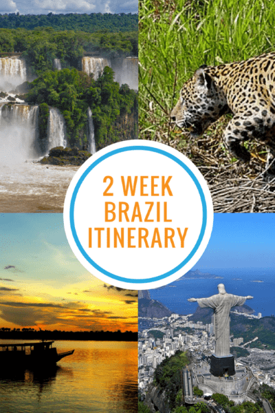 4-image collage of Christ the Redeemer, jaguar, Iguassu Falls and Amazon boat with text overlay on white circle that says 2 Week Brazil Itinerary