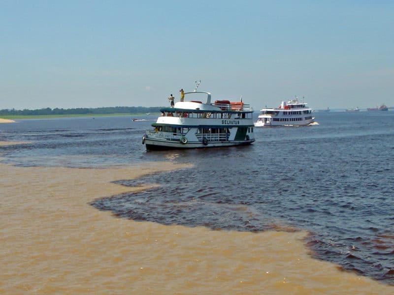 cruise boat approaches the tan and black water division at Encontro das Aguas in Manaus