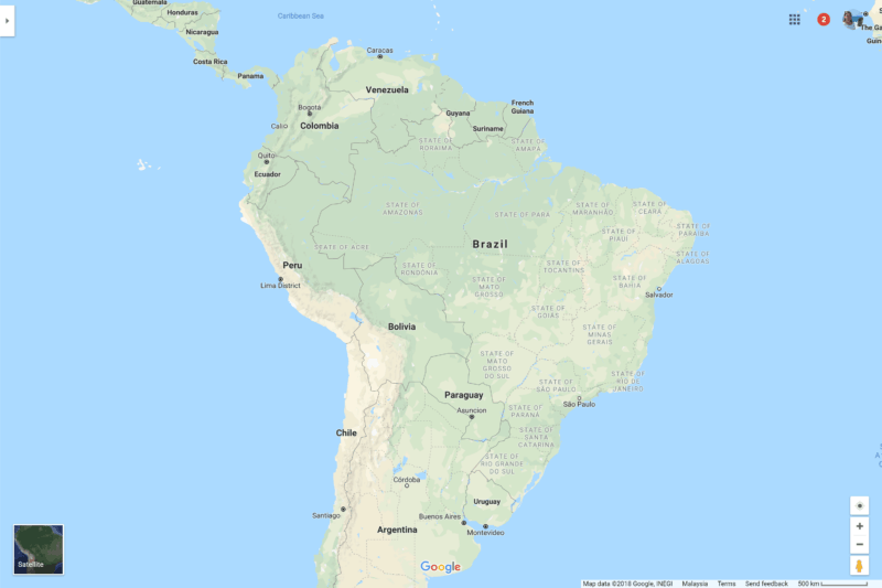 Map showoing where South American countries are located. The southern tip is cut off.