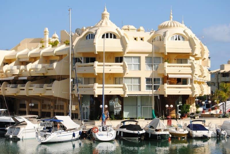 Shopping mall along a marina at Benalmadena Costa del Sol.