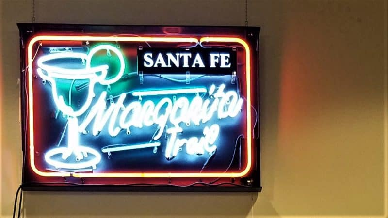 Neon sign says Santa Fe Margarita Trail