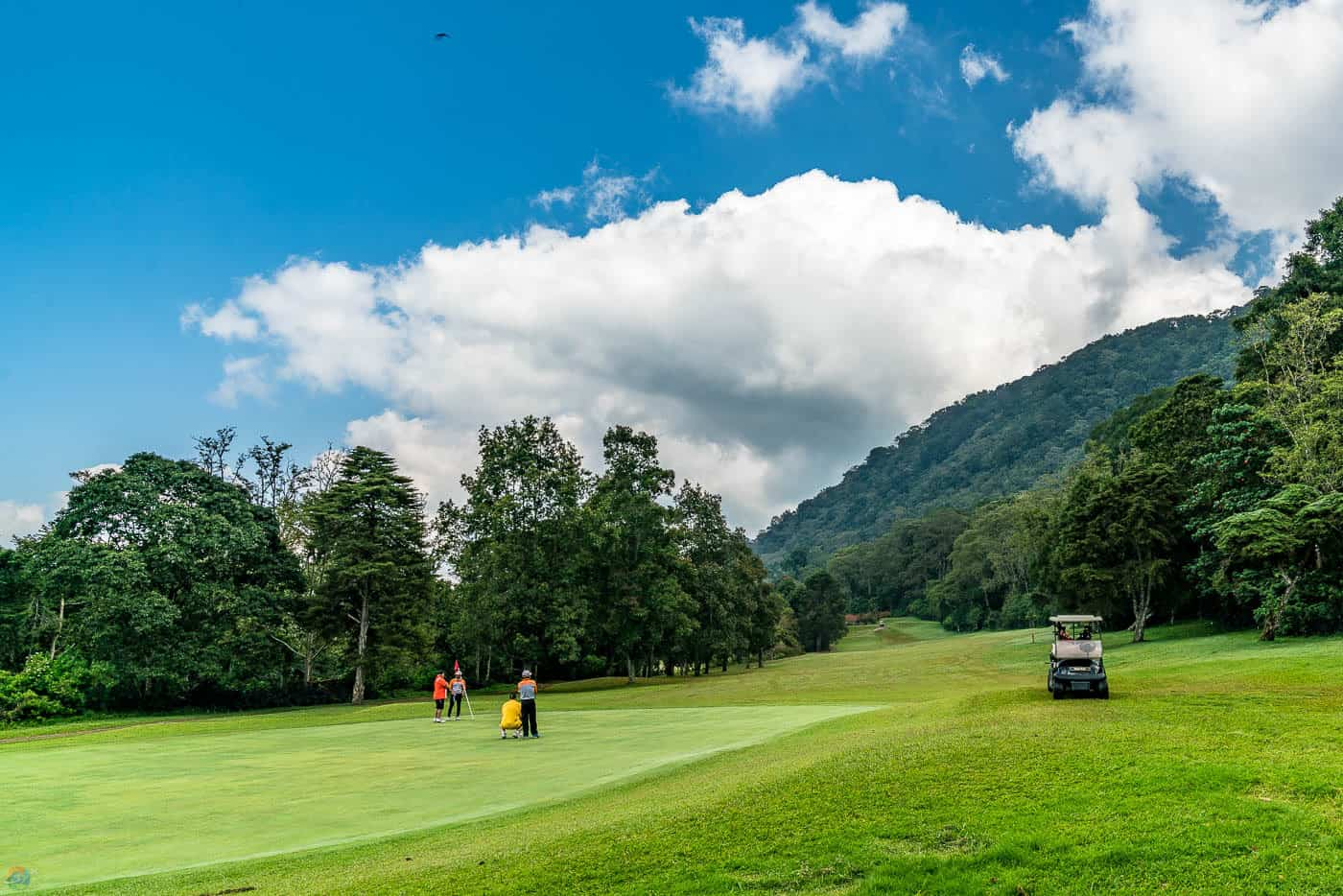 Handara's world class golf course next to the mountains.