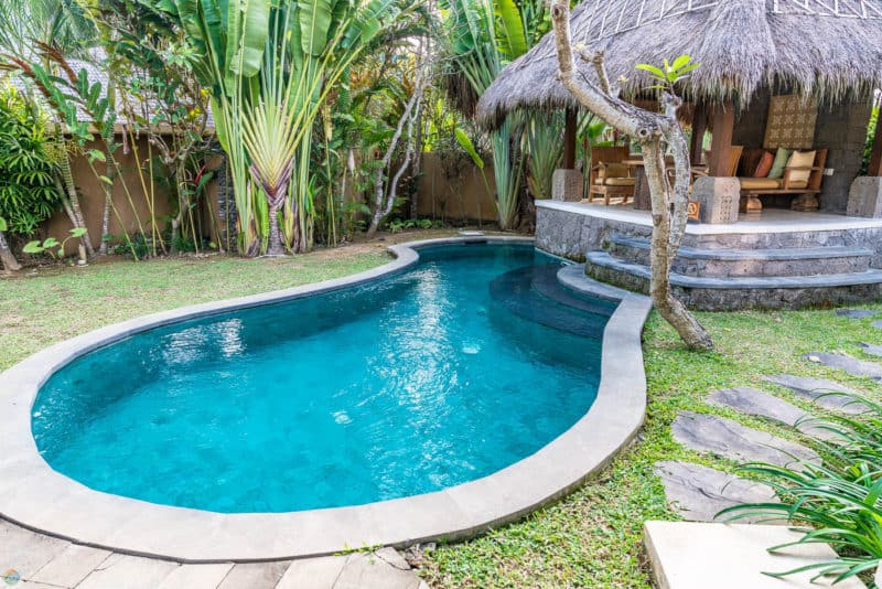 Each villa has a private pool and cabana at WakaGangga
