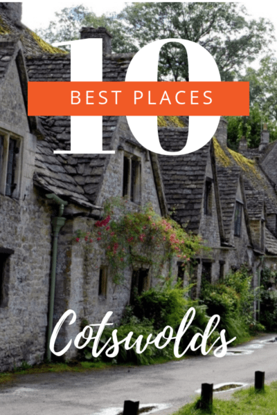 Row of thatched houses in the Cotswolds. Text overlay says 10 best places Cotswolds