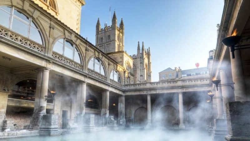 Steam rising from Roman Bath in Bath England