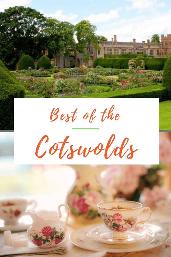 Collage of an English country house behind a manicured English garden above, Closeup of a bone china English tea set with roses below. Box with text overlay says best of the cotswolds