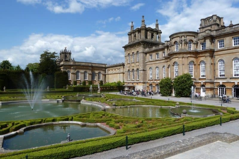 Stone edifice of Blenheim Palace and gardens
