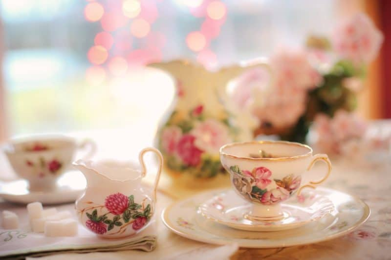 Bone china cup and saucer with roses on it