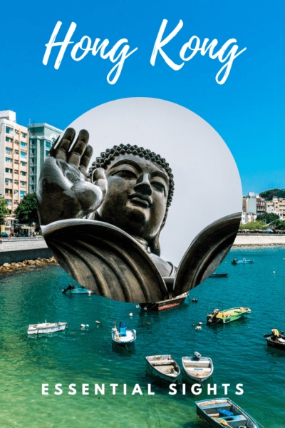Stanley Village in background, Big Buddha in circular photo overlay. Text Overlay says Hong Kong Essential Sights