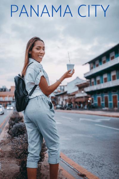 woman in casco viejo text says panama city