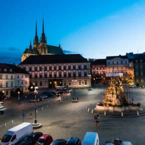 Night time on Zenly trh in Brno as the buildings display colorful lights