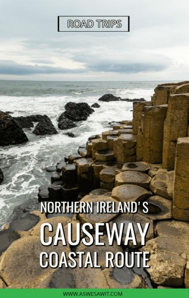Waves hitting pillars at Giant's Causeway