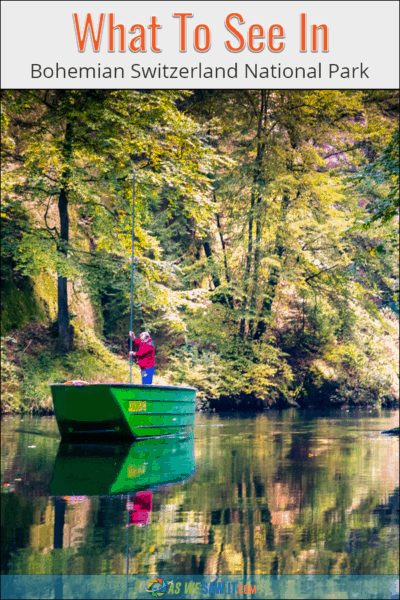 Man punts boat through Edmunds Gorge in Bohemian Switzerland