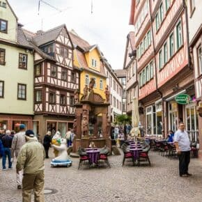 Tourists on a street in Wertheim, Germany