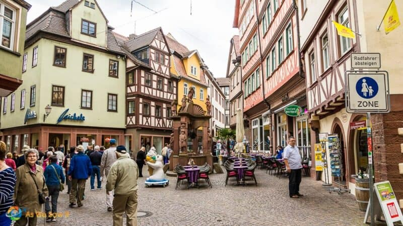 Tourists on a street in Wertheim, Germany