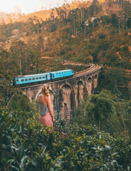 Aerial view of a train on the 9 Arches Bridge in Sri Lanka