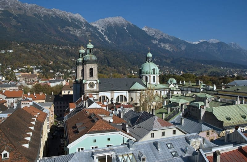 Cotyscape of Innsbruck with mountains in background