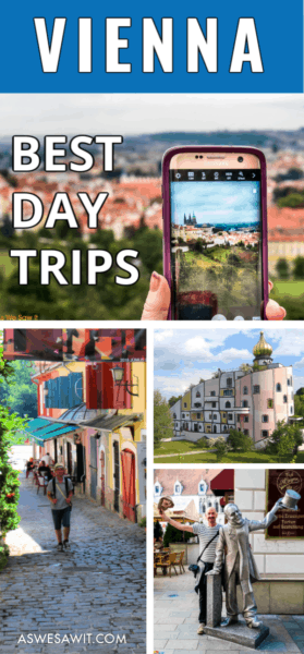 collage of camera taking photo, street in szedentere hungary, Bad Blumau spa building, and quirky bratislava statue. Text overlay says vienna best day trips