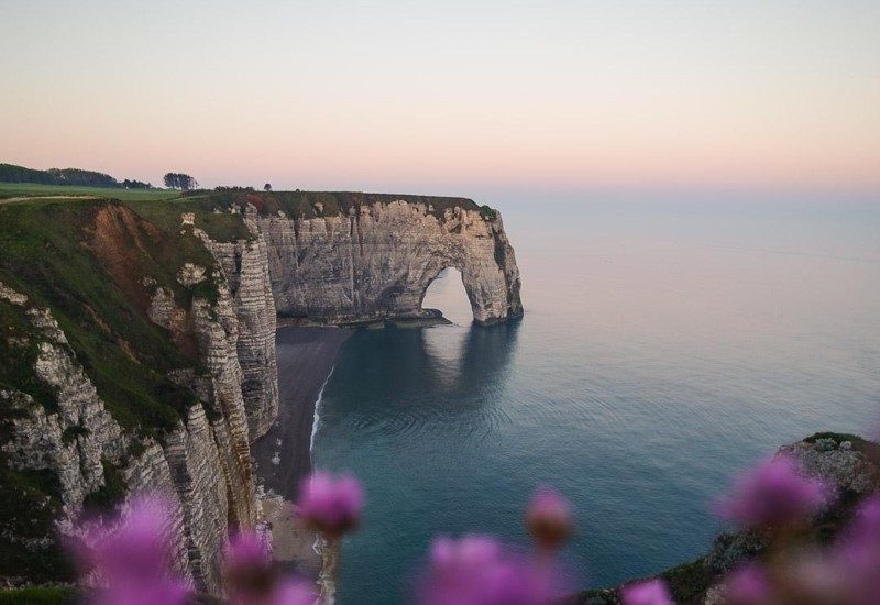One of the arches at the cliffs along the Atlantic Ocean in Etretat, France.