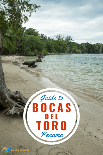 Deserted sandy Caribbean island beach. Tree in foreground. Text overlay in circle that says Guide to Bocas del Toro Panama.