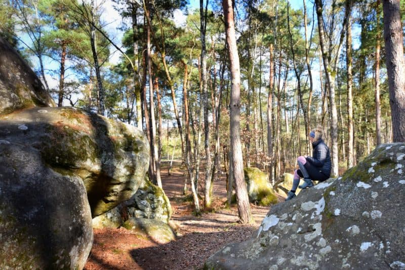 Woman sitting on a rock in the midst of a Fontainebleau forest. Large rock in foreground, pine trees in background. Trekking in this area is one of the best day trips from Paris for outdoor lovers.