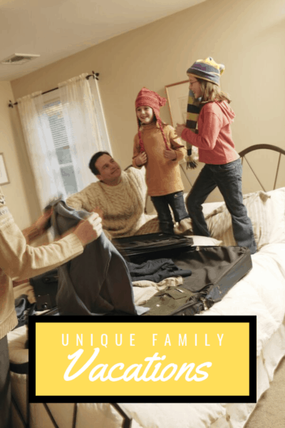 two girls jumping on the bed while their parents are packing for vacation text says alternative family vacations