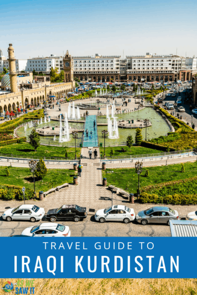 Aerial view of a park in Erbil. Text overlay says Travel Guide to Iraqi Kurdistan.