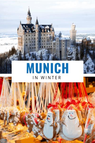 Neuschwanstein castle and munich christmas market text says munich in winter