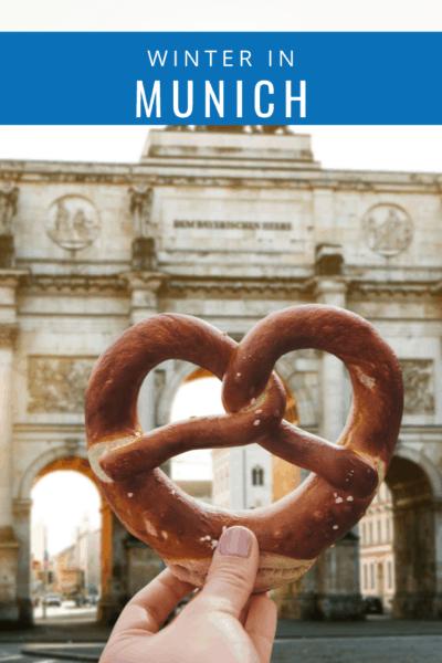 german pretzel text says munich in winter