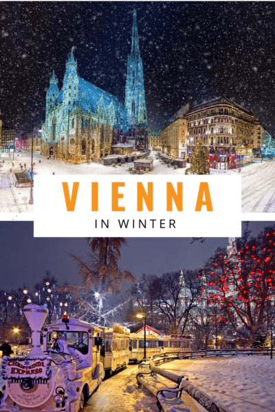 collage of winter nights in vienna text says vienna in winter