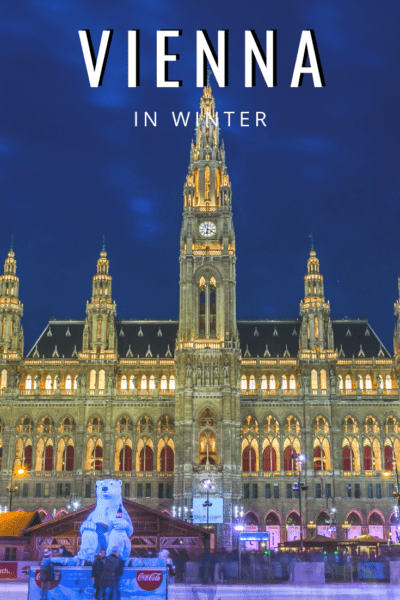 vienna rathaus at christmas time text says vienna in winter