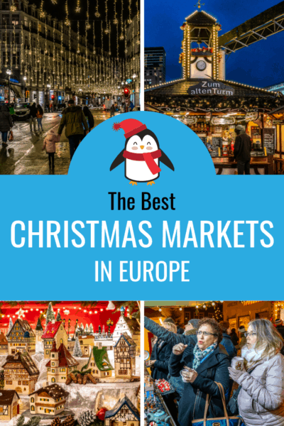 collage of christmas markets at night text says the best european christmas markets