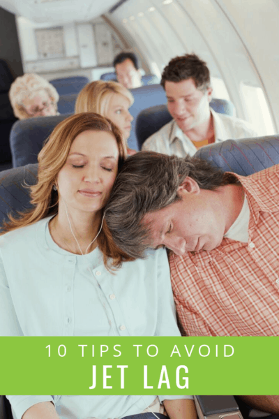 picture of couple sleeping on airplane text overlay says 10 tips to avoid jet lag