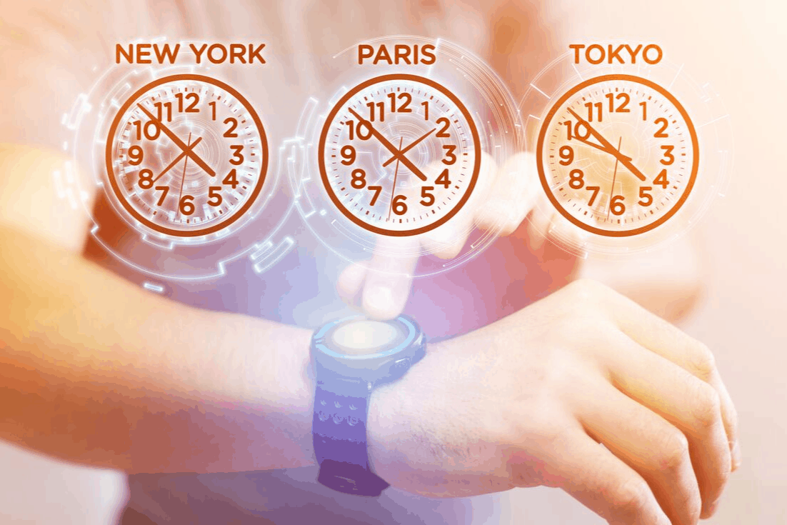 jet lag from crossing multiple time zones text says new york paris tokoyo