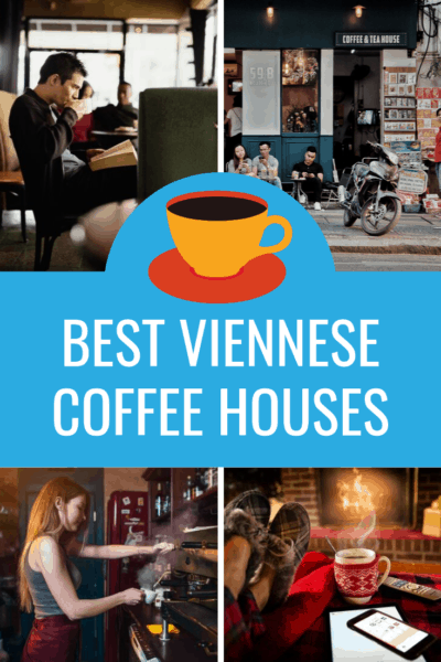 collage of people enjoying coffee text says best viennese coffee houses