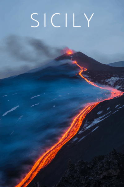 Mount Etna lava flow text says sicily