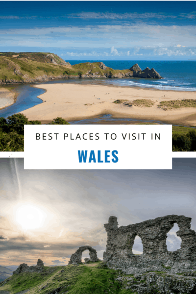 Beach photo on top with sunset at a castle on bottom text saya best places to visit in wales