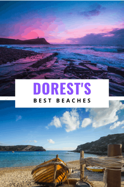 collage of coastal photos text says dorset's best beaches
