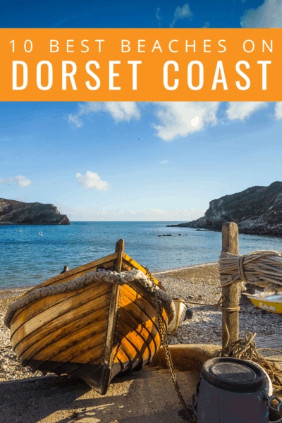 collage of coastal photos text says 10 best beaches in dorset coast