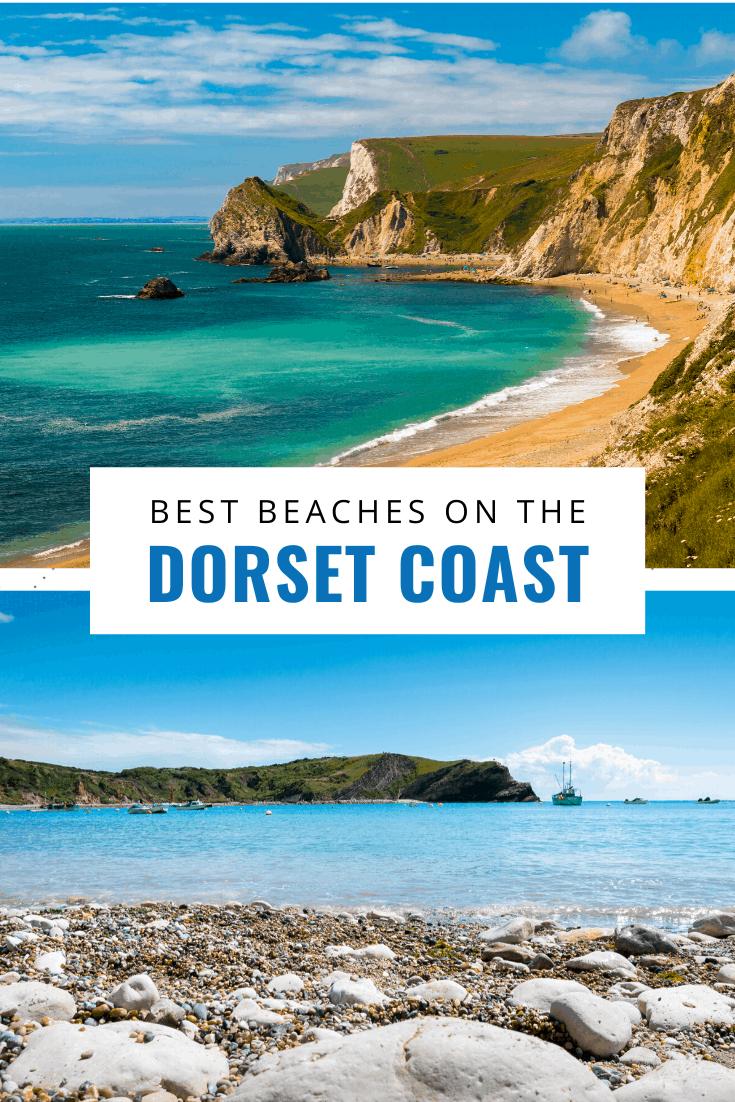 collage of jurassic coast photos text says best beaches on the dorset coast