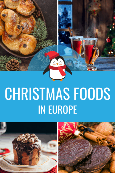 collage of christmas foods text says christmas foods in europe