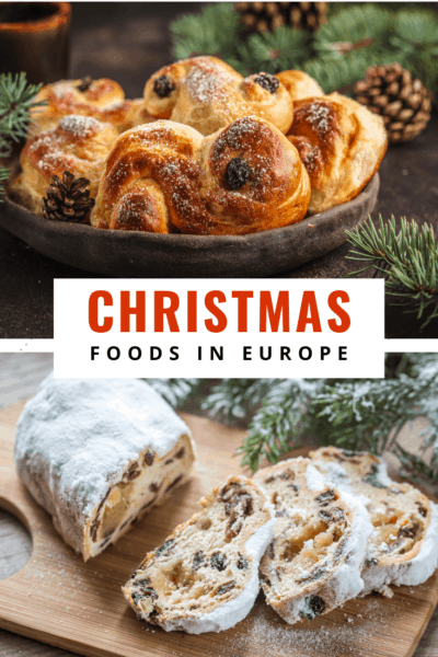 lussekatter and Stollen text says christmas foods in europe