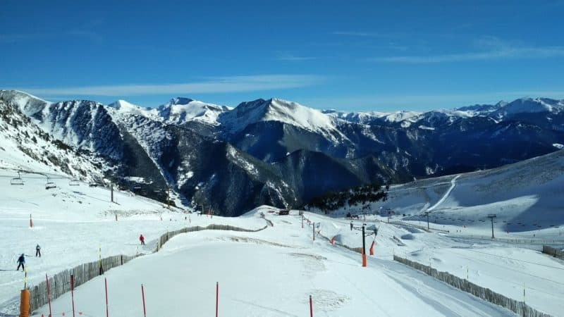 looking down a ski slope in andorra
