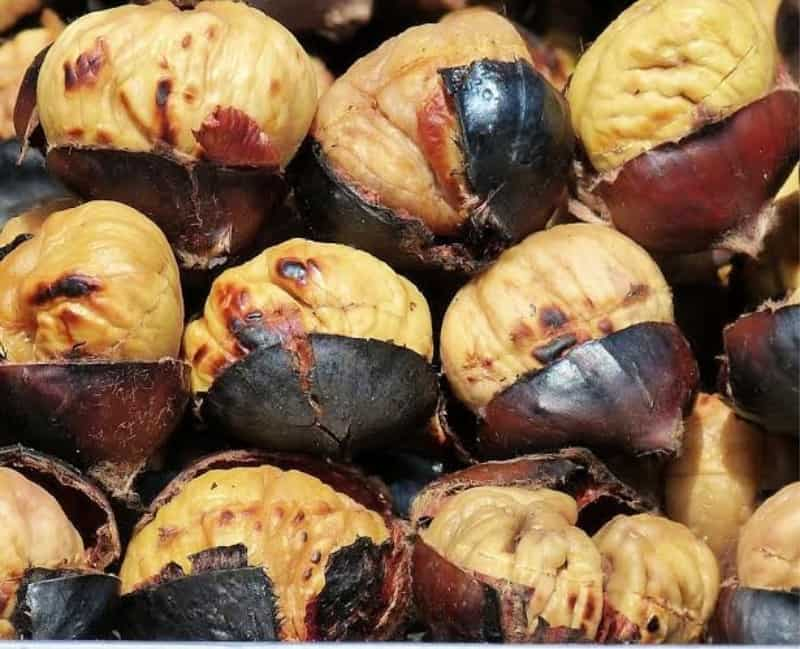 roasted chestnuts with bits of charred peels attached