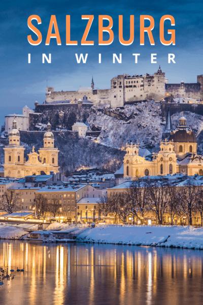 salzburg castle in winter text says salzburg in winter